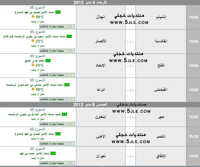 مباريات الجوله دوري 2011 2012