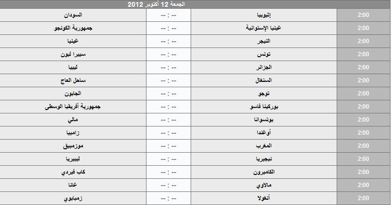تصفيات افريقيا 2013 مباريات افريقيا